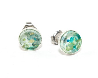 Abstract Art Drip Painting Stud Earrings - Painted Acrylic in Sterling Silver Setting - Caribbean Waters Colorway: Green, Blue, Gold, Gray