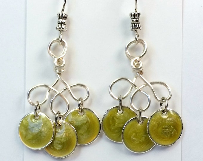 Yellow-Green Enameled Disks Dangle Earrings with Hand Made Chandeliers