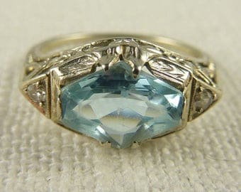 Antique Size 4.5-4.75 Art Deco 18K White Gold Flower Setting with Synthetic Aquamarine and Diamonds Ring