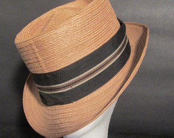 Classic Natural Straw Trilby Fedora Vintage 50's Sinatra
