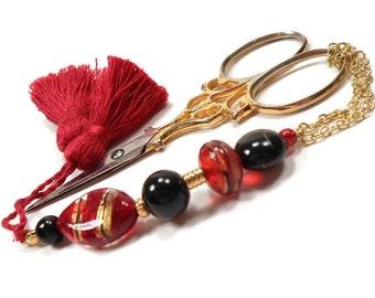 Scissor Fob Beaded Scissor Keeper Scissor Minder Red Black Gold Needlepoint Quilting Sewing Cross Stitch Key Fob Zipper Pull