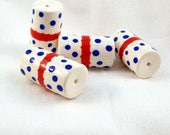 NOW ON SALE Patriotic Polymer Clay Large Tube Beads