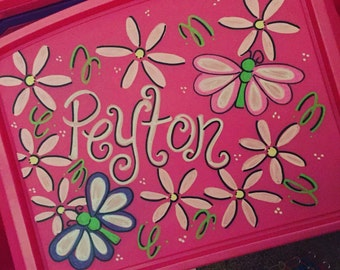 Personalized Butterly & Flower Laptray