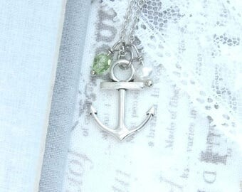 Silver Anchor Necklace Small Beach Necklace Anchor Jewelry Nautical Charm Necklace Anchor Gift