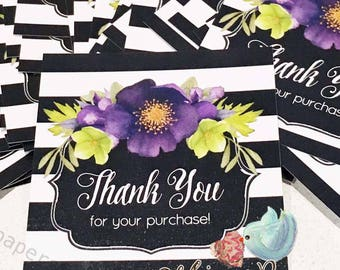 Thank You Stickers, Black Stripe Stickers, Etsy Shop Stickers