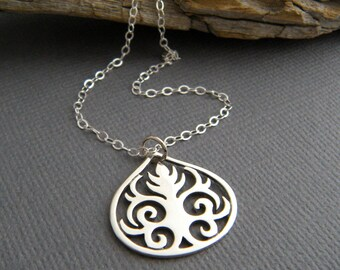 sterling silver scrolled teardrop necklace leaf tree small abstract nature jewelry filigree leaves boho scrollwork everyday jewelry gift 3/4