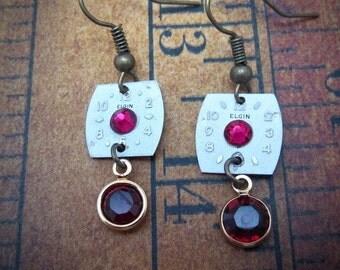 Steampunk Earrings - Time keeper - Ruby - Steampunk watch parts - Repurposed art