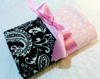 CLEARANCE SALE - NOW just 20 dollars - Ready to Ship - Minky Baby Blanket - Black Paisley with Light Pink Bubble  Dot Minky - Crib  Size
