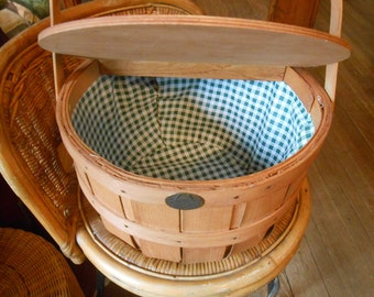 Vintage wood basket cooler with wood cover- green gingham lining- Peterboro Basket Co.-N.H