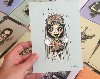 Zombie Bride Drawlloween print