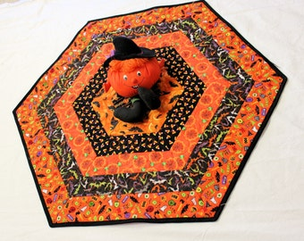 Hexagon Halloween Table Runner Quilt Candle Mat with Bats, Pumpkins, Spider Webs, Candy Corn in Orange and Black, Quiltsy Handmade