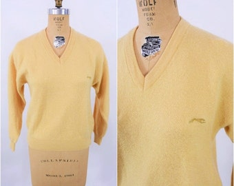 WINTER SALE / 1980s sweater vintage 80s mustard yellow Panther vneck pullover sweater S