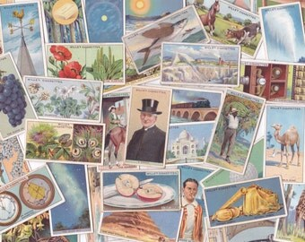 Lot of 10 Mixed Theme Vintage Cigarette Cards / Tea Cards | Collectors Tobacco Cards | for Crafting or Collecting