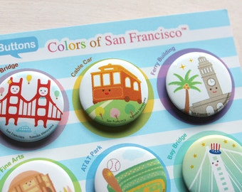 Friends of San Francisco Pin Buttons Set of 6