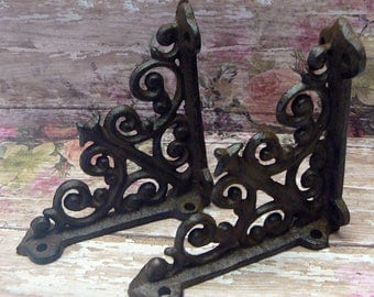 "Shelf Bracket Cast Iron Mini 4"" Small Unpainted Brace Pair DIY Home Improvement"