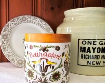 Vintage Ceramic Crock/German/Pa. Dutch Folk Art Crock/ Lidded Crock/Vintage Kitchen/Storage
