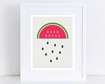 watermelon rain nursery art - fun summer print for children's room or kitchen art, fruit wall art, room decor, kitchen print, summer print
