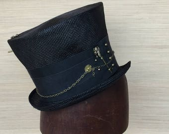 Top Hat, Black Straw Top hat, Steampunk Hat, Men's Top Hat,  Madhatter, Alice in Wonderland, Women's Top Hat