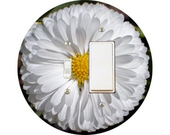 White Daisy Flower Toggle and Decora Rocker Switch Plate Cover