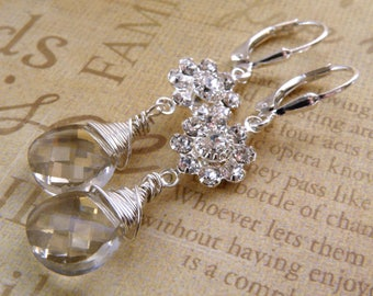 Silver Teardrop Crystal Earrings, Sterling Silver, Gray Swarovski with Flower Rhinestone, Dangle Bridesmaid Wedding Jewelry, Spring Fashion