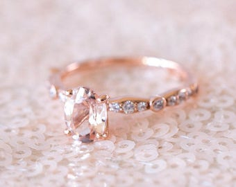 Rose Gold Morganite Ring | Oval Engagement Ring | Art Deco Wedding Ring | Rose Gold Blush Engagement Ring | Wedding Band [The Mathilde Ring]