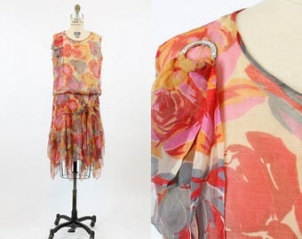 20s Dress Rose Print Small Medium / 1920s Dress Handkerchief Hem Silk  / English Rose Dress