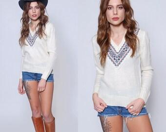 Vintage 70s FOLK Sweater CREAM V Neck Pullover Hippie Sweater Printed Sweater