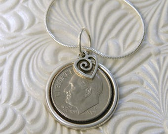 """10th Birthday or Anniversary-2007 US Dime Pendant and Necklace-20"""" Sterling Silver Chain-Coin Jewelry"""