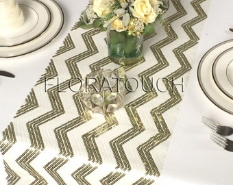 White And Bright/Yellow Gold Chevron Sequin Table Runner Wedding Table  Runner