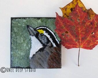 Sparrow Painting Songbird Art Miniature Art on Canvas 3x3 Acrylic Bird Painting with Easel Tiny Art Pocket Art Earthy Colors Affordable Gift