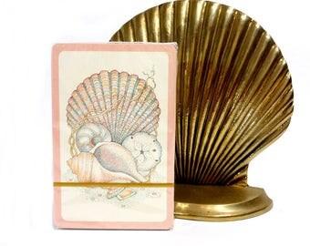 1980's Vintage Playing Card Deck / Sealed Cards / Pink Mauve Sea Shells Scallops / Joker Game Cards Austria / Beach Coastal Home Decor
