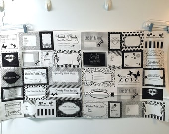 Fabric Studio E  QUILT LABELS black and white Made with Love Panel many different sayings
