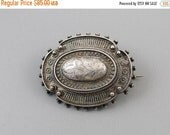 Holiday Sale Antique mid Victorian hand crafted silver hair locket pin brooch