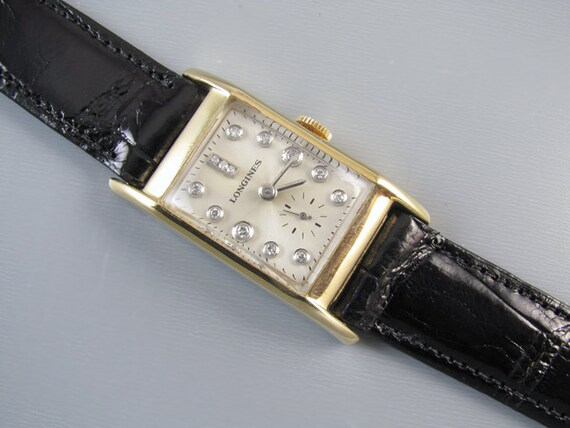 PROFESSIONALLY RESTORED and SERVICED Vintage 1948 Art Deco wrist watch 14k Swiss Longines 39mm full 13 diamond dial 17J 9L lxw