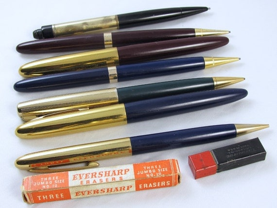 Vintage mid century lot of 2 Wahl Eversharp pens and 5 pencils / extra lead and erasers / writing instruments / office / desk