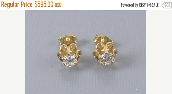 SPRING CLEANING SALE 14k gold .36ct Si1-Si2/I-J diamond solitaire pierced stud earrings