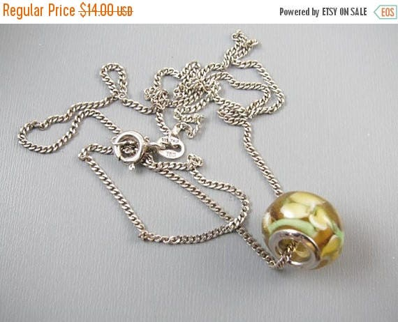 SPRING CLEANING SALE Modern sterling silver Italy lamp work art glass bead pendant necklace