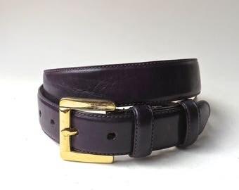Talbots vintage Deep Purple Leather Belt with Gold Tone Solid Brass Buckle / Dark Purple Leather Belt
