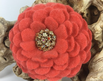 Coral Felted Cashmere Wool Pin Flower with Rhinestone Encrusted Vintage Earring Center