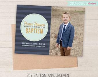LDS Baptism Invitation, Boys Baptism Announcement, Blue, It's Great to be 8, Lds Baptism Boy, CTR, LDS Primary, Lds Baptism Card, Baptism