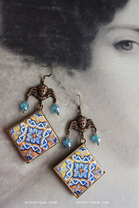 Chandelier Earrings Portugal Antique Azulejo Tile 17th Century  Majolica Mosaic Igreja Madre de Deus, Lisboa and Ericeira Church 616b