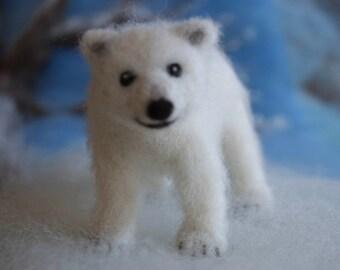 Needle Felted Polar Bear Cub, Poseable