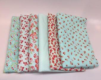 SUMMER SALE - Half Yard Bundle (6) - Little Ruby in Aqua - Bonnie and Camille for Moda Fabrics