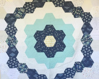 The Nora Hexagon Quilt, You choose Size and color palette