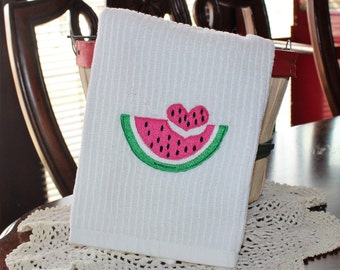 Watermelon heart embroidered kitchen towel