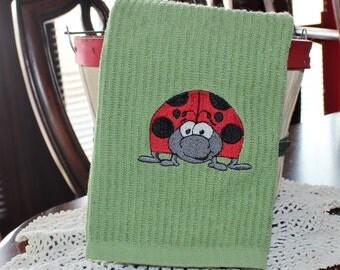 Ladybug Embroidered Kitchen Towel