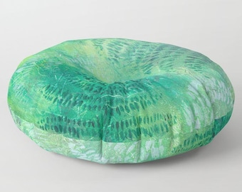 Green floor pillow, round, or square floor pillow, green foliage floor pillow, painted print pillow, green painted foliage art floor cushion