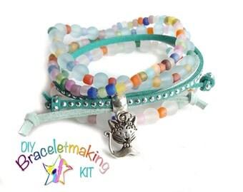"""DIY bracelet Kit, Set of 4 DIY stack bracelets,""""Kitty"""" bracelet stack,  Arm Candy Bracelet, kids craft kit, Girls Stocking filler"""