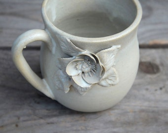 Stoneware Tea Cup  in cream with anemone  - Handmade  Stoneware Ceramics  - cream - mug