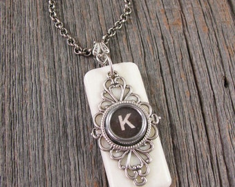 Piano Key Jewelry - Typewriter Key Jewelry - Personalized - Synthetic Ivory Piano Keytop - Black Initial K Typewriter Key Pendant Necklace